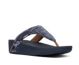 FitFlop Womens LOTTIE Chain Print Suede Toe-Thongs Midnight Navy Sandals
